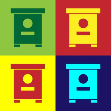 Pop art Hive for bees icon isolated on color background. Beehive symbol. Apiary and beekeeping. Sweet natural food.  Vector. icon