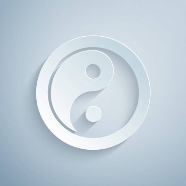 Paper cut Yin Yang symbol of harmony and balance icon isolated on grey background. Paper art style. Vector. icon