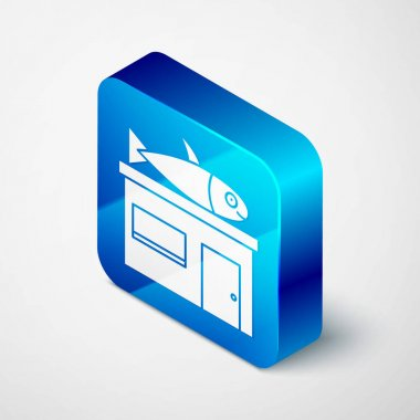 Isometric Seafood store icon isolated on grey background. Facade of seafood market. Blue square button. Vector.. icon