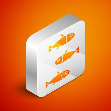Isometric Fishes icon isolated on orange background. Silver square button. Vector.. icon