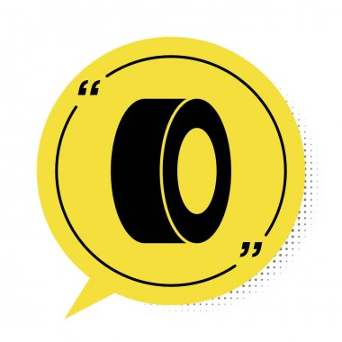 Black Car tire icon isolated on white background. Yellow speech bubble symbol. Vector. icon
