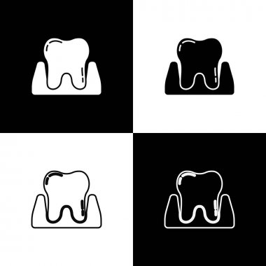 Set Tooth icon isolated on black and white background. Tooth symbol for dentistry clinic or dentist medical center and toothpaste package.  Vector. icon