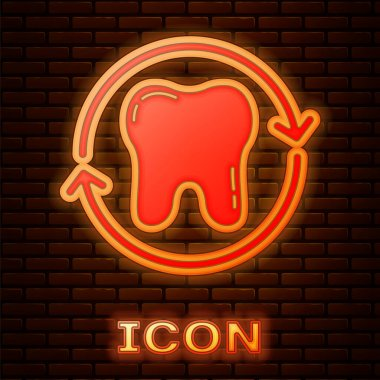 Glowing neon Tooth whitening concept icon isolated on brick wall background. Tooth symbol for dentistry clinic or dentist medical center.  Vector. icon