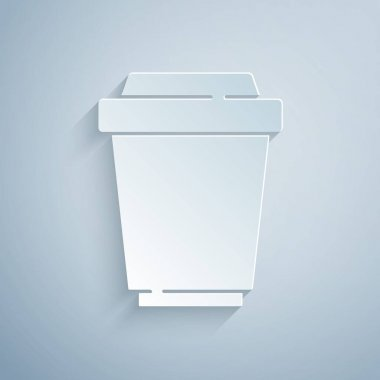 Paper cut Coffee cup to go icon isolated on grey background. Paper art style. Vector. icon