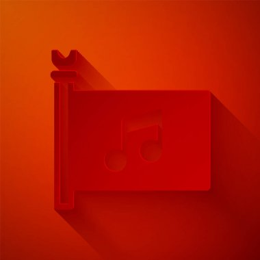 Paper cut Music festival, access, flag, music note icon isolated on red background. Paper art style. Vector. icon