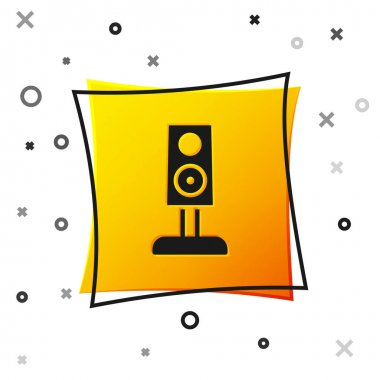 Black Stereo speaker icon isolated on white background. Sound system speakers. Music icon. Musical column speaker bass equipment. Yellow square button. Vector. icon