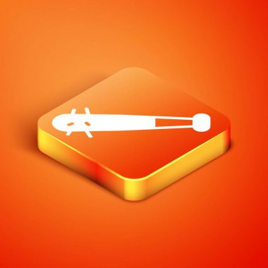 Isometric Baseball bat with nails icon isolated on orange background. Violent weapon.  Vector. icon