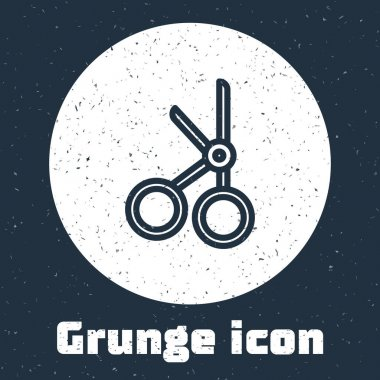Grunge line Medical scissors icon isolated on grey background. Monochrome vintage drawing. Vector Illustration. icon