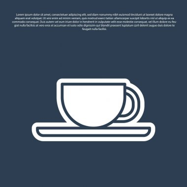 Blue line Coffee cup icon isolated on blue background. Tea cup. Hot drink coffee.  Vector Illustration. icon