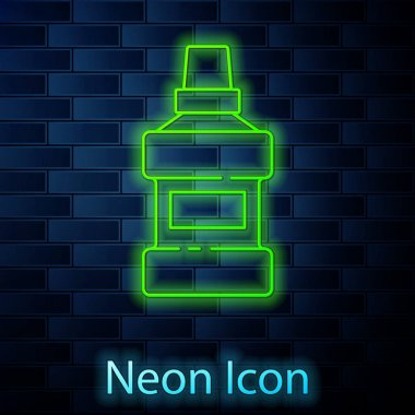 Glowing neon line Mouthwash plastic bottle and glass icon isolated on brick wall background. Liquid for rinsing mouth. Oralcare equipment.  Vector. icon