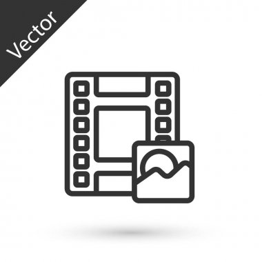Grey line Play Video icon isolated on white background. Film strip sign.  Vector. icon