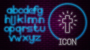 Glowing neon line Christian cross icon isolated on brick wall background. Church cross. Neon light alphabet. Vector. icon