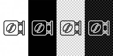 Set line Street signboard coffee icon isolated on black and white background.  Vector. icon