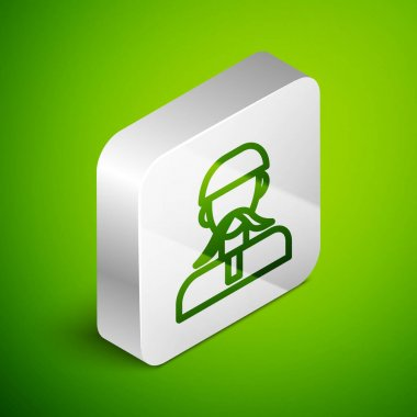 Isometric line Ukrainian cossack icon isolated on green background. Silver square button. Vector. icon