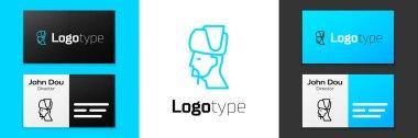 Blue line Ukrainian cossack icon isolated on white background. Logo design template element. Vector. icon