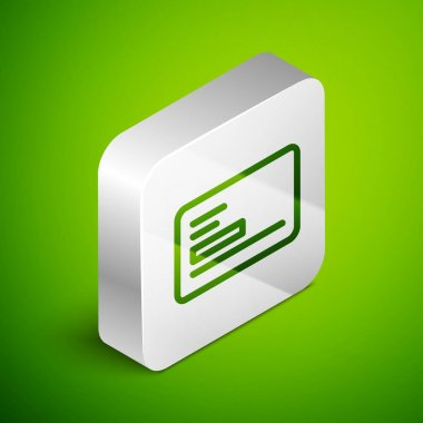 Isometric line Visiting card, business card icon isolated on green background. Corporate identity template. Silver square button. Vector. icon