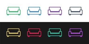 Set line Sofa icon isolated on black and white background.  Vector. icon