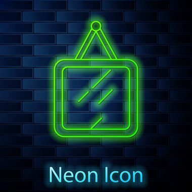 Glowing neon line Mirror icon isolated on brick wall background.  Vector. icon