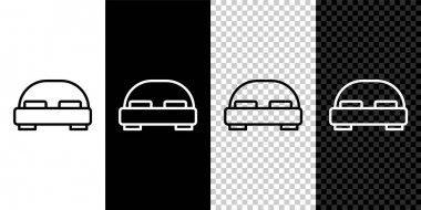 Set line Big bed for two or one person icon isolated on black and white background.  Vector. icon