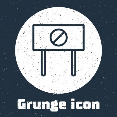 Grunge line Protest icon isolated on grey background. Meeting, protester, picket, speech, banner, protest placard, petition, leader, leaflet. Monochrome vintage drawing. Vector. icon