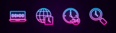 Set line Clock on laptop, World time, 24 hours and Magnifying glass with clock. Glowing neon icon. Vector icon