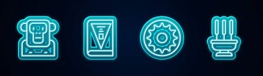 Set line Monkey, India constitution day, Chakra and Incense sticks. Glowing neon icon. Vector icon