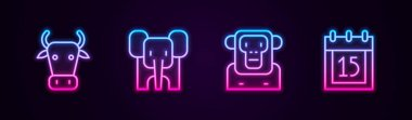 Set line Cow, Elephant, Monkey and Independence day India. Glowing neon icon. Vector icon
