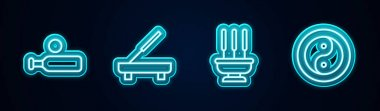 Set line Wood cricket bat and ball, Scented spa stick, Incense sticks and Yin Yang. Glowing neon icon. Vector icon