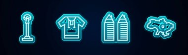 Set line Monument of Independence, Embroidered shirt, Two towers in Dnipro and Map Ukraine. Glowing neon icon. Vector icon