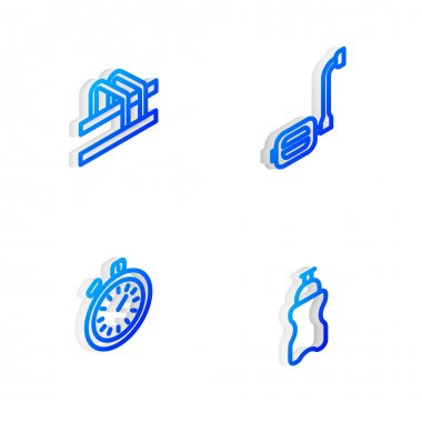 Set Isometric line Bicycle pedal, parking, Stopwatch and Sport bottle with water icon. Vector icon