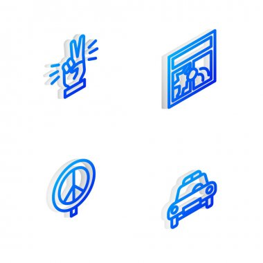 Set Isometric line Broken window, Hand showing two finger, Peace and Police car flasher icon. Vector icon