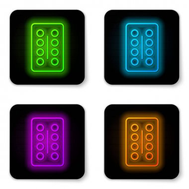 Glowing neon line Pills in blister pack icon isolated on white background. Medical drug package for tablet, vitamin, antibiotic, aspirin. Black square button. Vector Illustration. icon