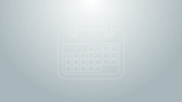 Blue line Calendar icon isolated on grey background. 4K Video motion graphic animation