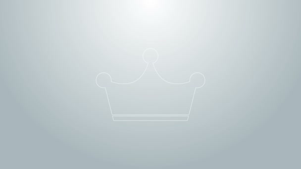 Blue line Crown icon isolated on grey background. 4K Video motion graphic animation