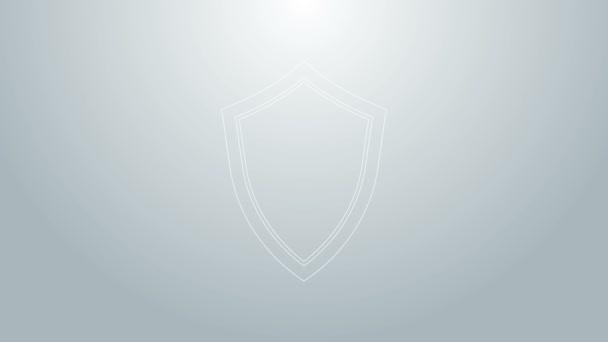 Blaue Linie Schild Symbol isoliert auf grauem Hintergrund. Wachschild. 4K Video Motion Grafik Animation