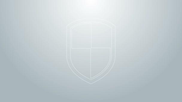 Kék vonal Pajzs ikon elszigetelt szürke háttér. Őrség jel. 4K Videó mozgás grafikus animáció
