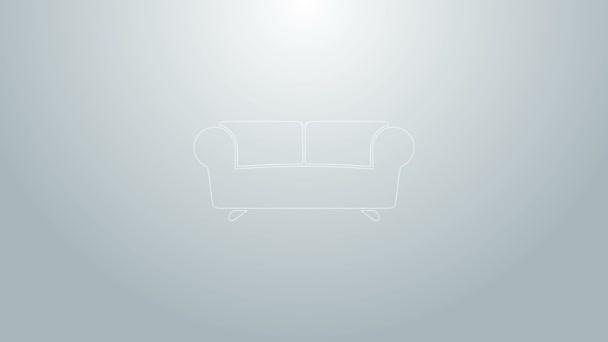 Blaue Linie Sofa-Symbol isoliert auf grauem Hintergrund. 4K Video Motion Grafik Animation