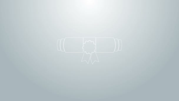 Modrá čára Diploma válcovaný svitek s razítkem a stuhou ikona izolované na šedém pozadí. Papírový svitek s voskovou pečetí. Obchodní certifikát. Grafická animace pohybu videa 4K