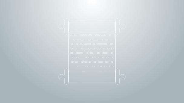 Blaue Linie Papierscroll-Symbol isoliert auf grauem Hintergrund. Leinwandscrollzeichen. 4K Video Motion Grafik Animation