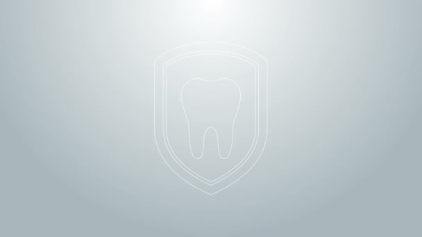 Blue line Dental protection icon isolated on grey background. Tooth on shield logo icon. 4K Video motion graphic animation