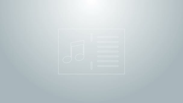 Modrá čára Hudební kniha s ikonou poznámky izolované na šedém pozadí. Hudební list s notovou osnovou. Notebook pro hudební poznámky. Grafická animace pohybu videa 4K