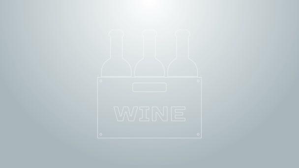 Kék vonal Palack bor egy fa doboz ikon elszigetelt szürke háttér. Borosüvegek egy fadobozos ikonon. 4K Videó mozgás grafikus animáció
