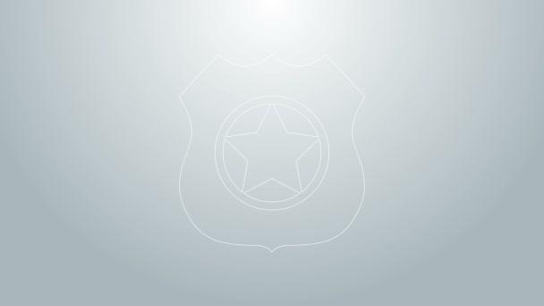 Kék vonal Rendőrségi jelvény ikon elszigetelt szürke háttér. Seriff jelvény. 4K Videó mozgás grafikus animáció