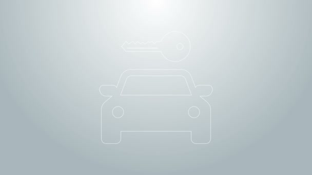 Blue line Car rental icon isolated on grey background. Rent a car sign. Key with car. Concept for automobile repair service, spare parts store. 4K Video motion graphic animation