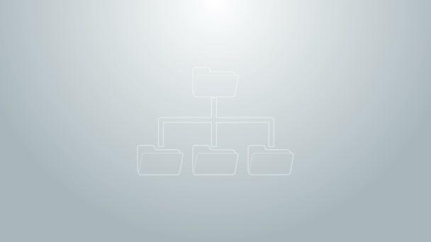 Ikona stromu složek modré čáry izolovaná na šedém pozadí. Organizační schéma struktury síťových souborů počítače. Grafická animace pohybu videa 4K
