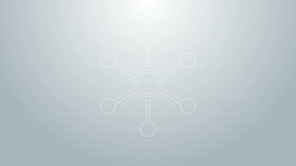 Blaue Linie Netzwerksymbol isoliert auf grauem Hintergrund. Globale Netzwerkverbindung. Globale Technologie oder soziales Netzwerk. Punkte und Linien verbinden. 4K Video Motion Grafik Animation