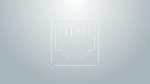 Blaue Leitung Netzwerkanschluss - Kabelbuchsensymbol isoliert auf grauem Hintergrund. LAN, Ethernet-Port-Zeichen. Das lokale Steckersymbol. 4K Video Motion Grafik Animation