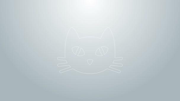 Kék vonal Cat ikon elszigetelt szürke háttér. 4K Videó mozgás grafikus animáció