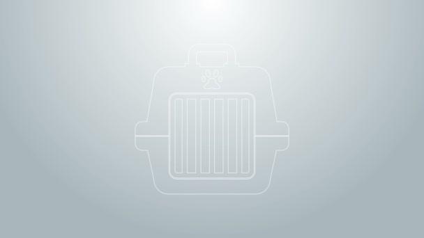 Modrá čára Pet taška ikona izolované na šedém pozadí. Nosič pro zvířata, psy a kočky. Kontejner pro zvířata. Krabice na přepravu zvířat. Grafická animace pohybu videa 4K