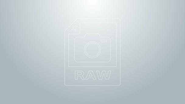 Dokument Modrá čára RAW. Stáhnout ikonu surového tlačítka izolované na šedém pozadí. Symbol souboru RAW. Grafická animace pohybu videa 4K